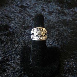GunMetal Silvertone & Crystal Ladies Ring SZ 6-7